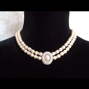 Jewelry - Vintage Faux Pearl Dual Strand Choker